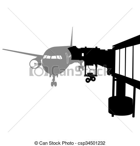 Vectors of Jet airplane docked in Airport. Vector illustration.