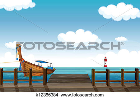 Clipart of A docked boat and lighthouse k12356384.