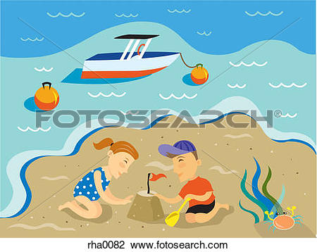 Clip Art of Two children building a sand castle on the beach and a.