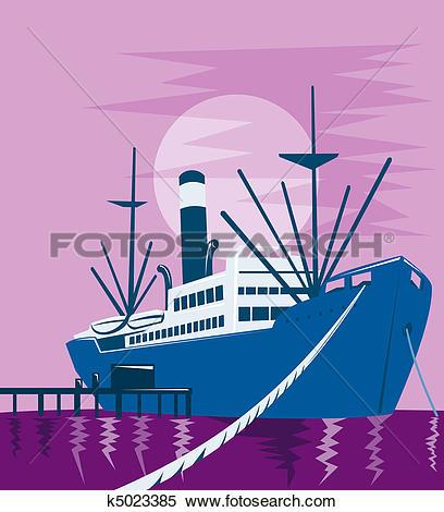 Stock Illustration of cargo ship boat docked harbor k5023385.