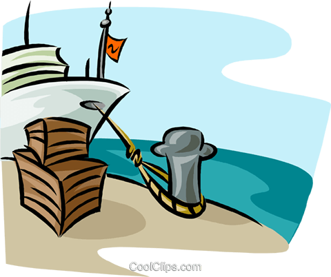 ship at docks loading cargo Royalty Free Vector Clip Art.