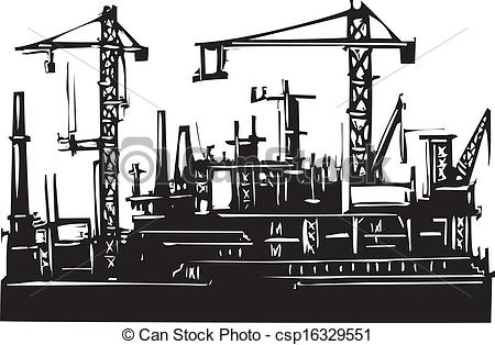 Clipart Vector of Docks and Cranes.
