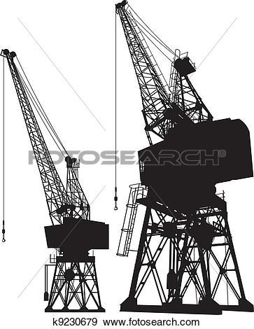 Clip Art of Dockyard cranes k9230679.