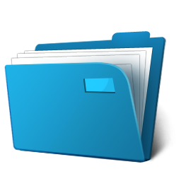 3D Documents Blue Folder Icon, PNG ClipArt Image.
