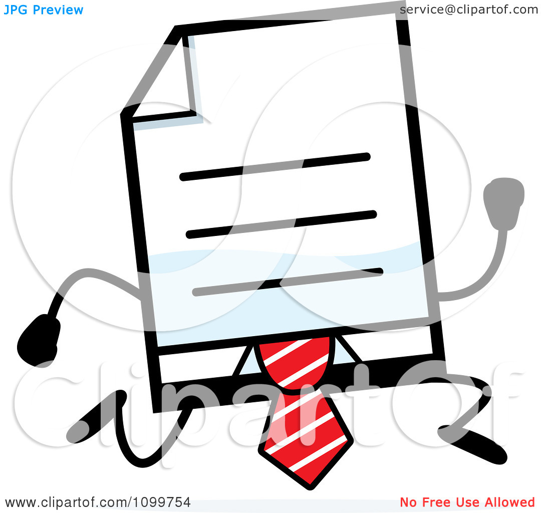 Clipart Business Document Mascot In A Red Tie Running.