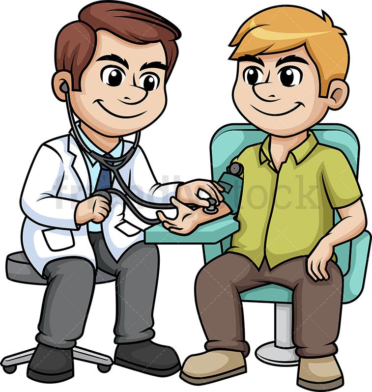 Male Patient Getting Blood Pressure Measured.
