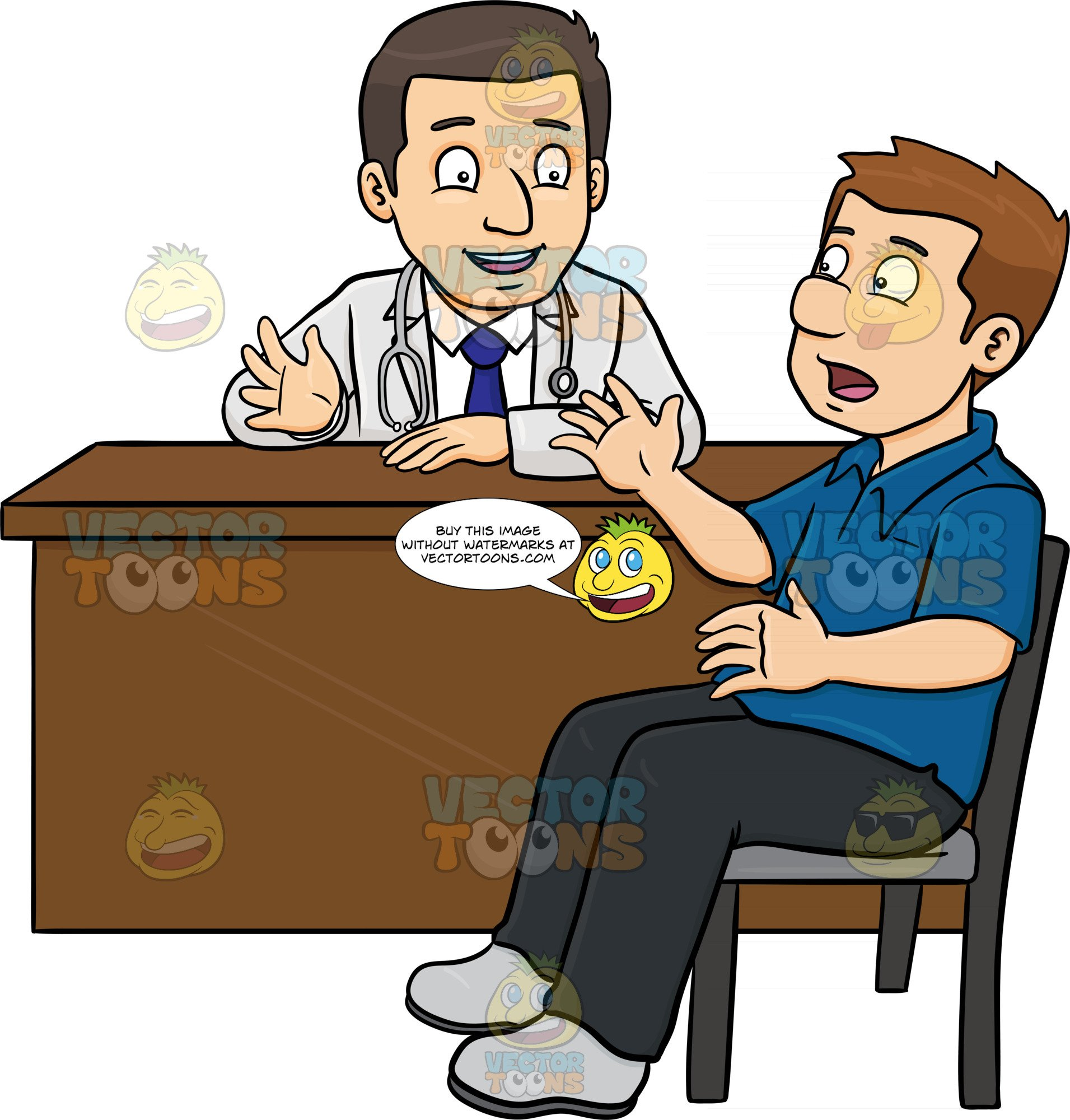 A Doctor Chatting With His Male Patient In The Consultation Room.