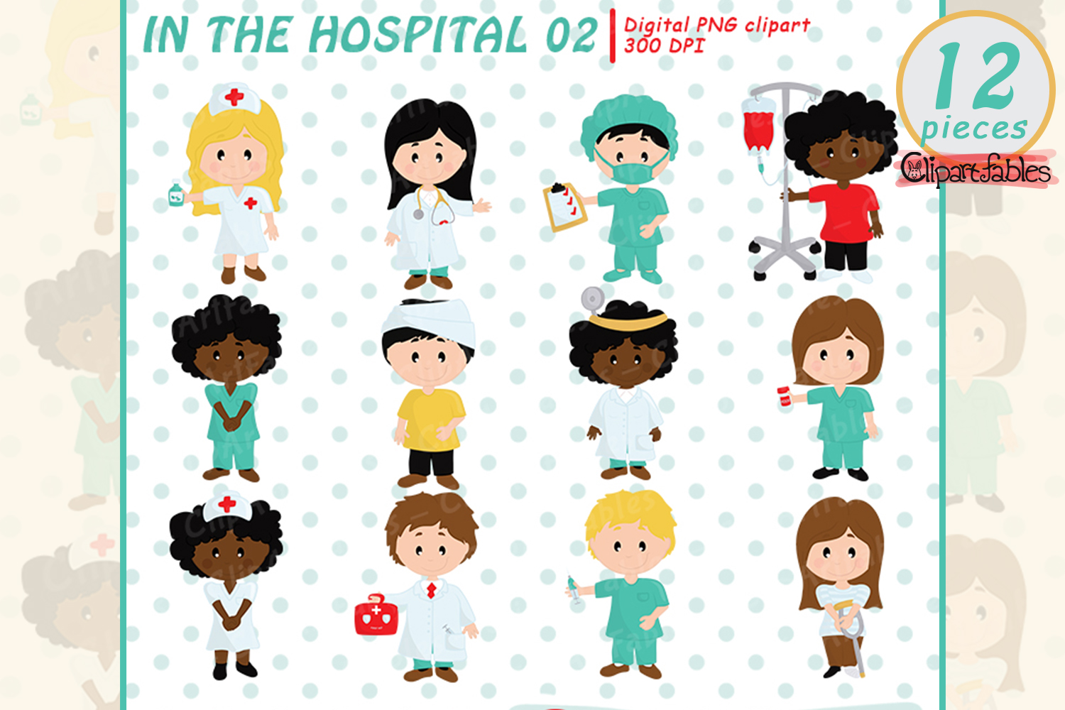 Cute doctor and patient clipart.