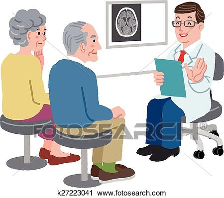 Doctor talking with his patient and the family Clipart.