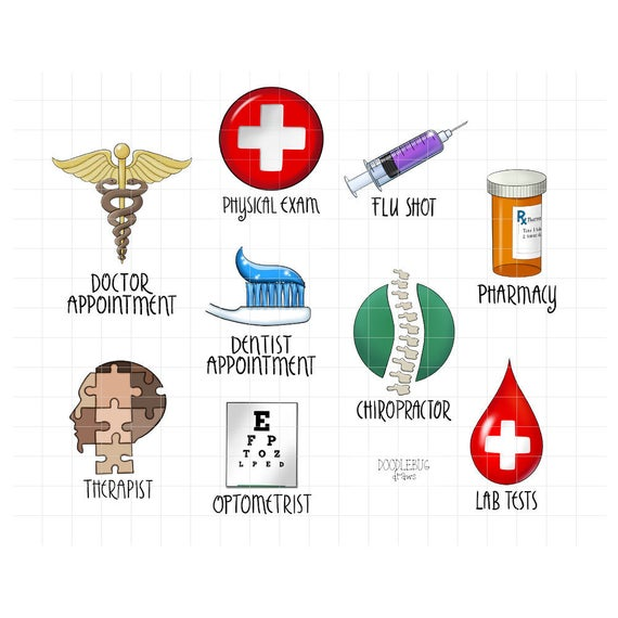 Health Appointments Digital Planner Stickers.