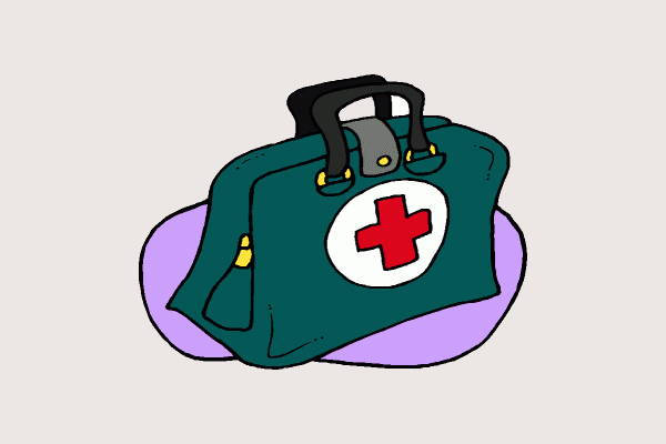 Black And White Clipart Doctors Bag.