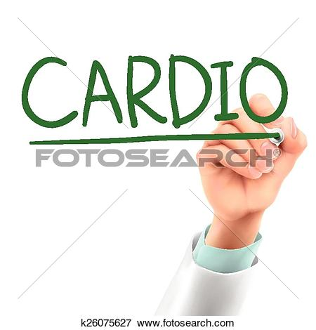Clip Art of doctor writing cardio word k26075627.