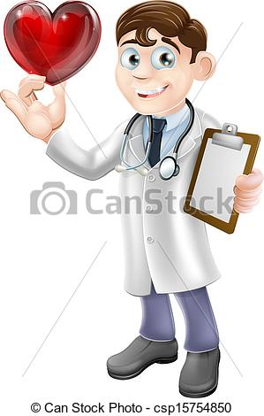 Clipart Vector of Cartoon Heart Doctor.