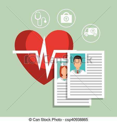 Clip Art Vector of doctor curriculum vitae with cardio pulse heart.