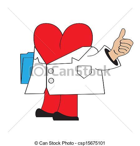 Vector Clipart of cartoon doctor heart, illustration in vector.