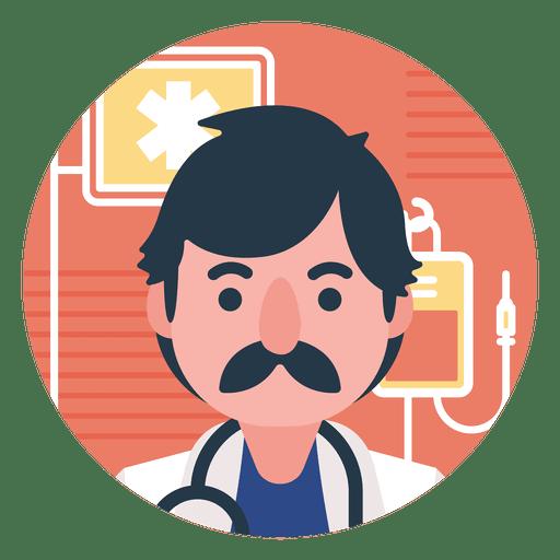 Flat doctor cartoon.