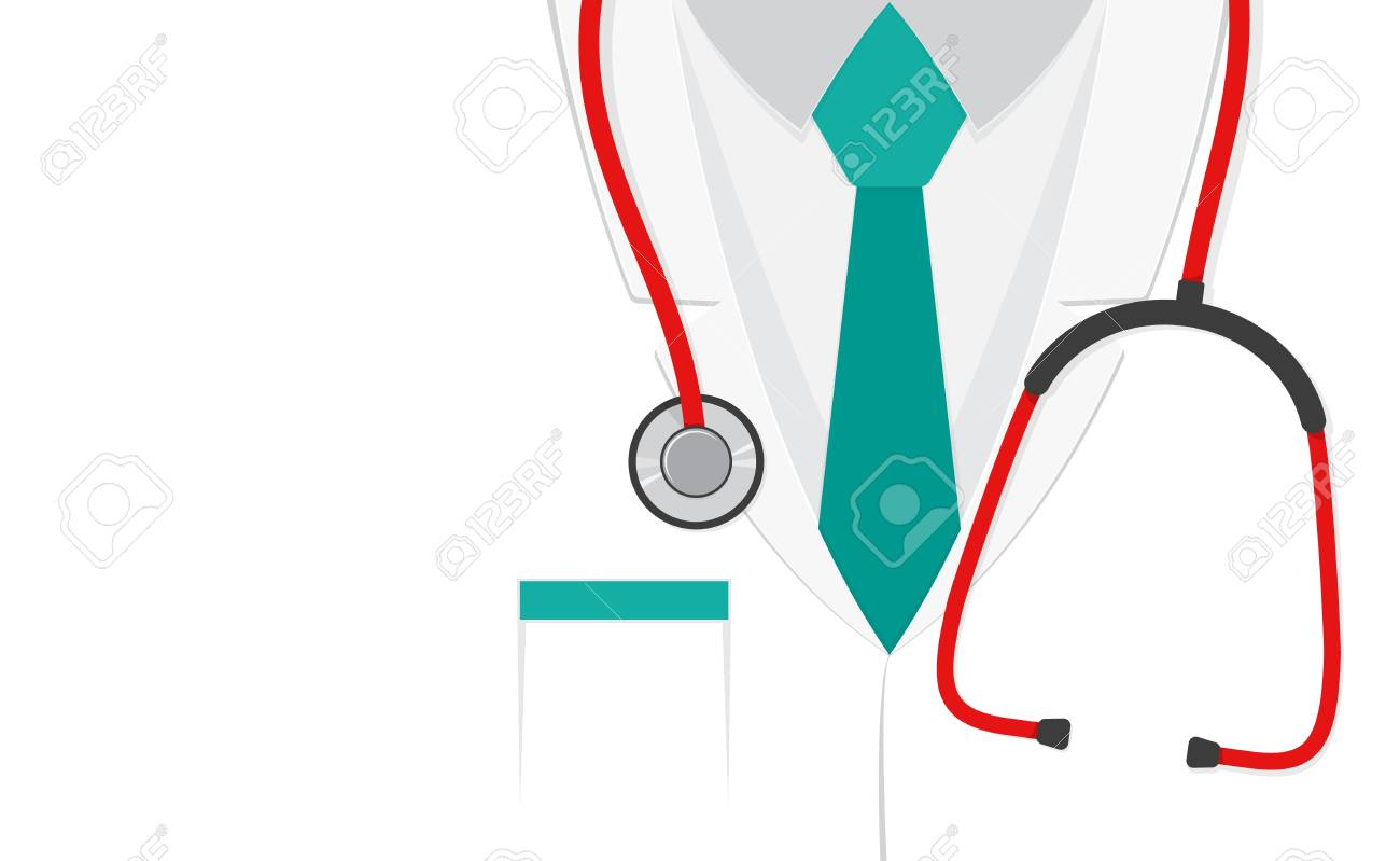 A doctors suit or lab coat with stethoscope. Vector illustration..