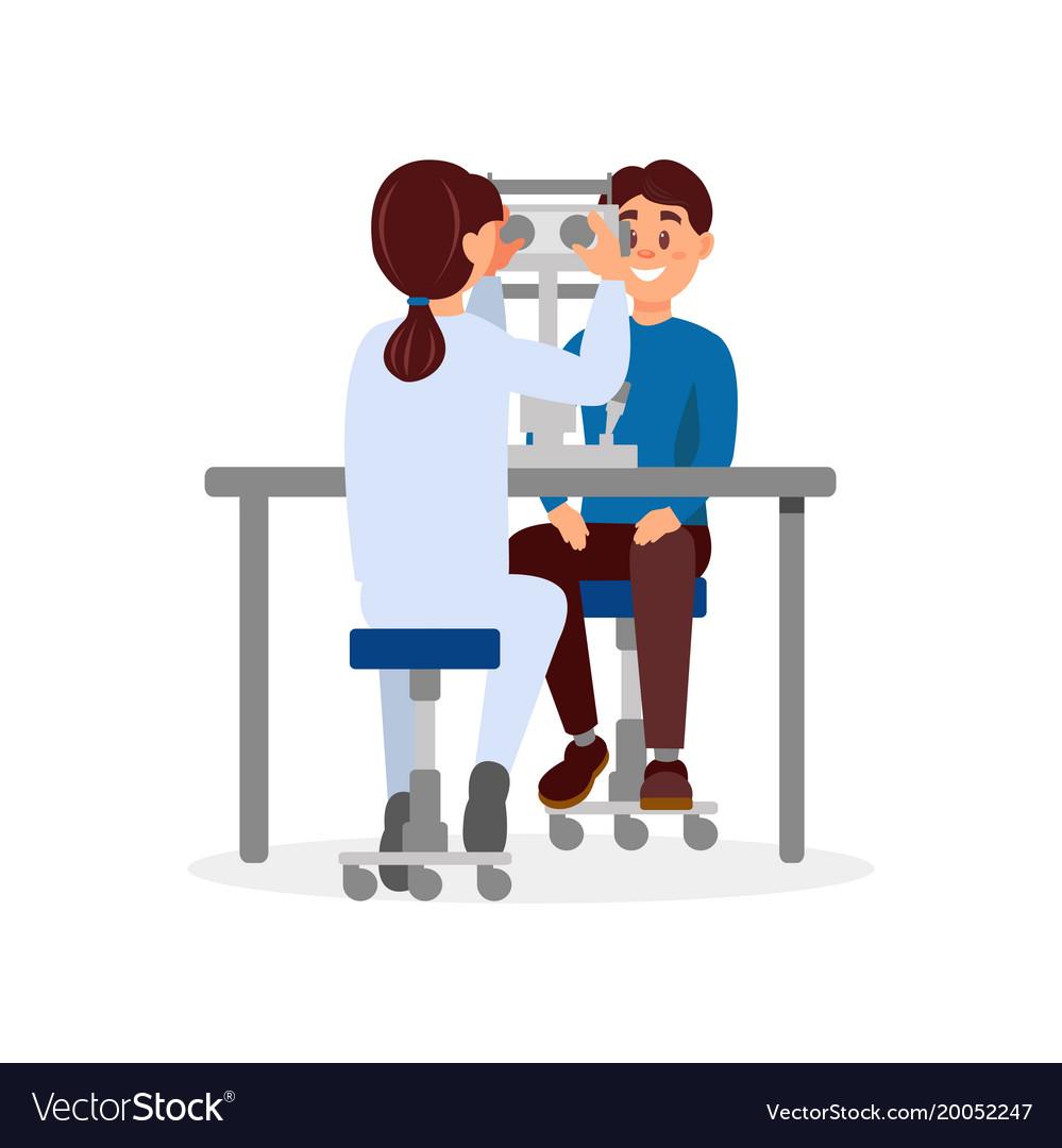 Doctor examining patient s eyesight using.