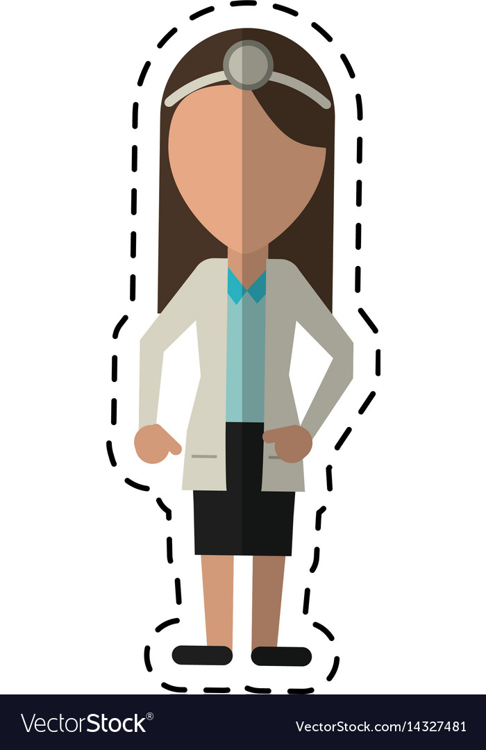 Cartoon doctor female with head mirror and coat.