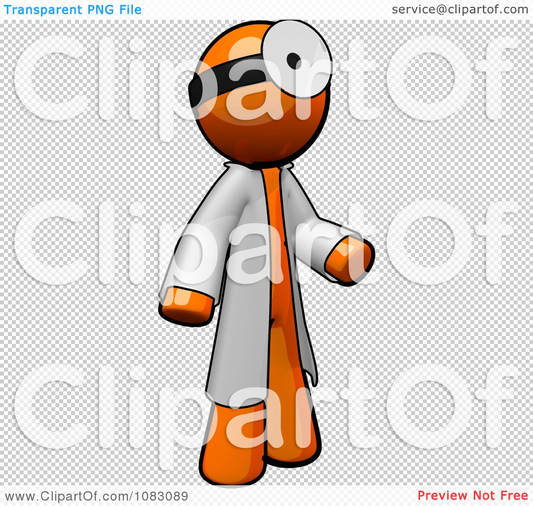 Clipart 3d Orange Man Doctor Wearing A Jacket And Head Mirror.
