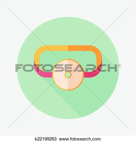 Clipart of Doctor head mirror flat icon with long shadow k22199263.