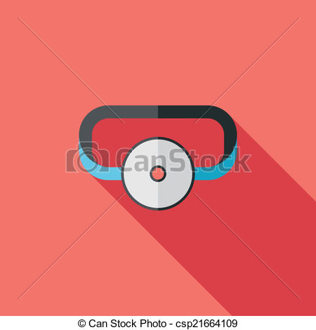 Vector Clipart of Doctor head mirror flat icon with long shadow.