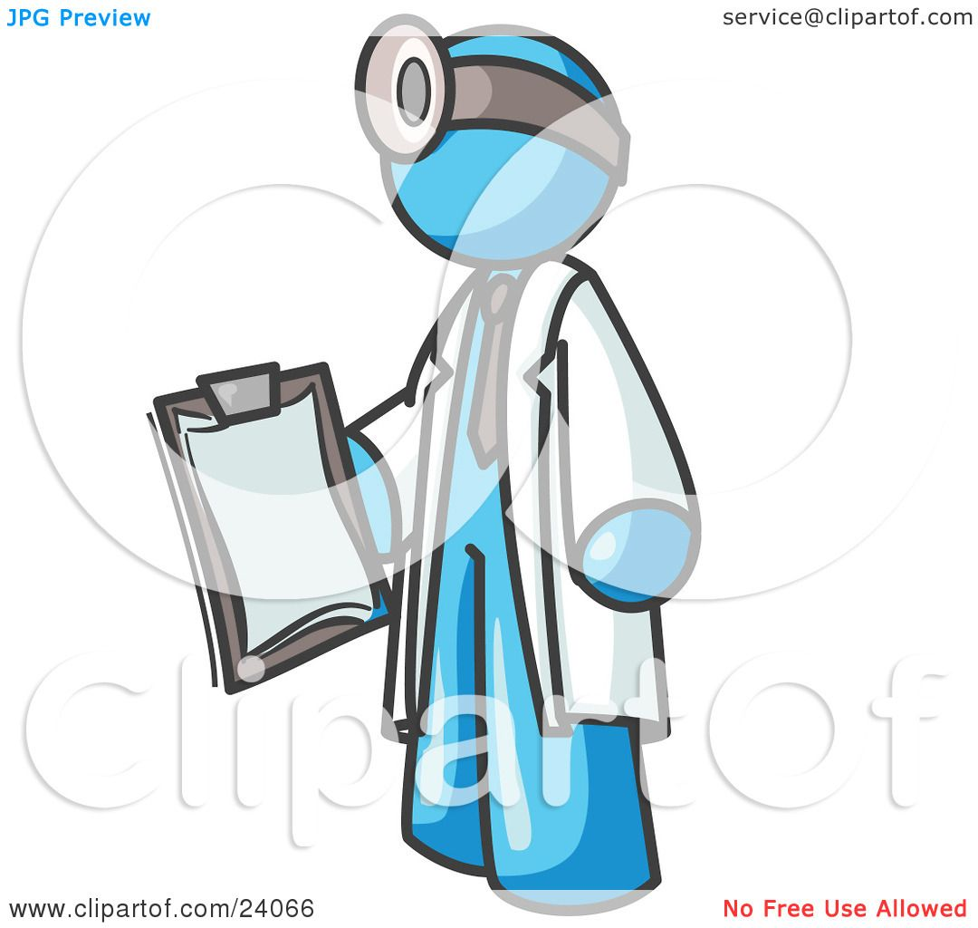 Clipart Illustration of a Light Blue Male Doctor Holding a.