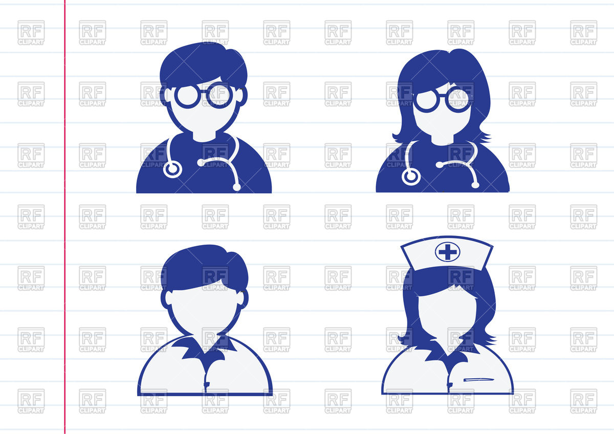 Doctor, nurse, patient icons Stock Vector Image.