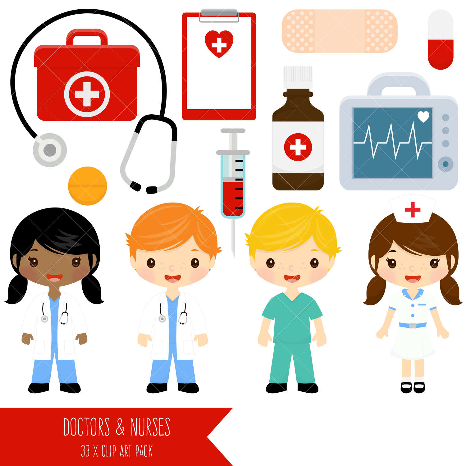 Doctor and Nurse Clipart / Cute Doctors and Nurses Clip Art / First Aid  Clipart.