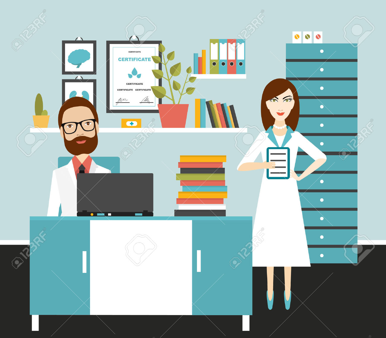 Doctor And Nurse Office Workplace. Flat Vector Illustration.