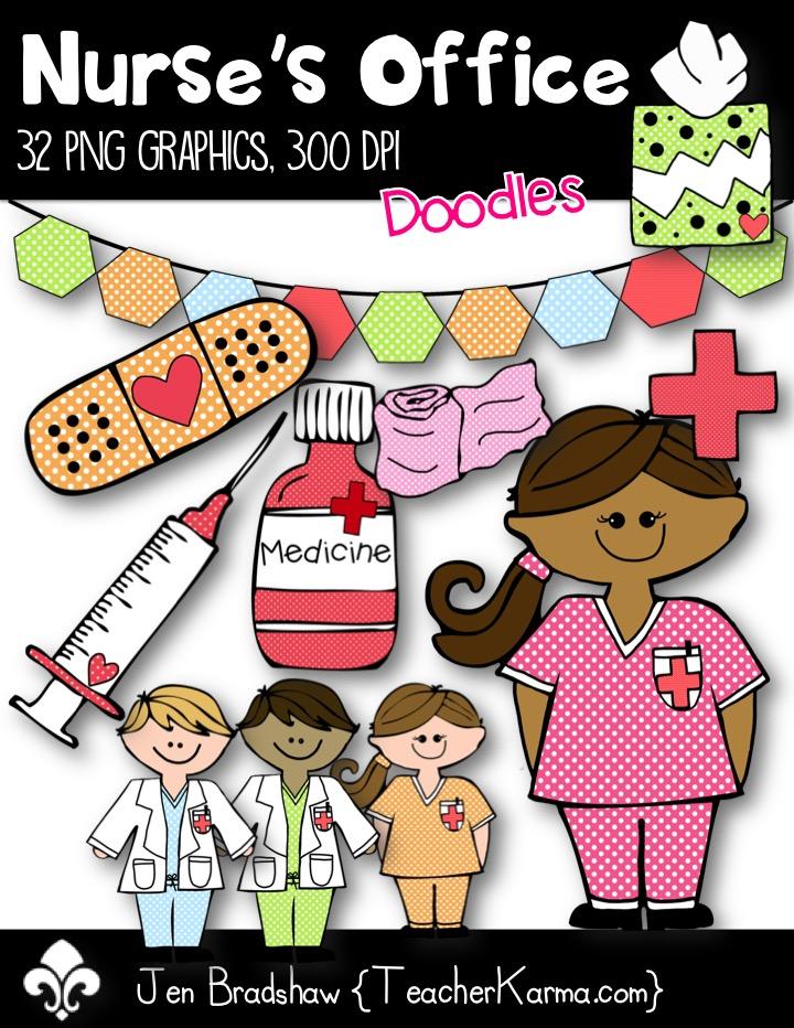 Nurse's Office Clip Art ~ Commercial Use OK ~ Bandaid ~ Medicine.