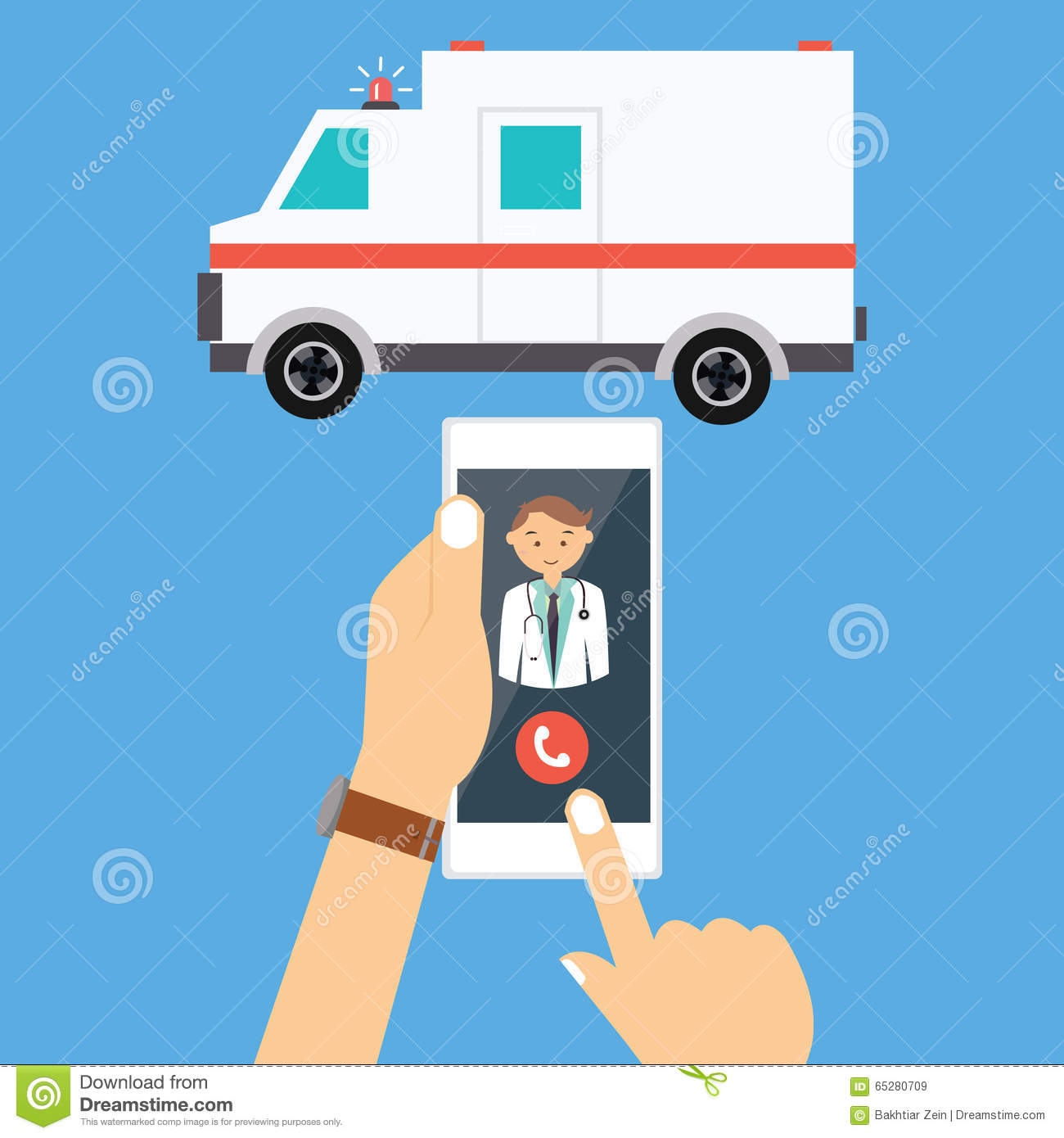 Call Ambulance Car Doctor Mobile Phone Emergency Stock Vector.