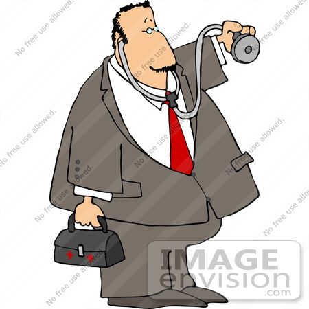 Middle Aged Caucasian Doctor Making a House Call Clipart.