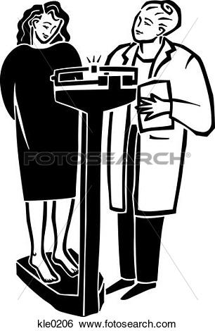 Stock Illustration of A doctor weighing a woman on a scale kle0206.