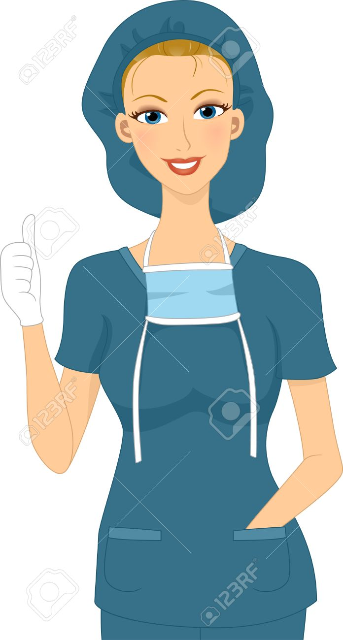 Illustration Of A Surgeon Giving A Thumbs Up Stock Photo, Picture.