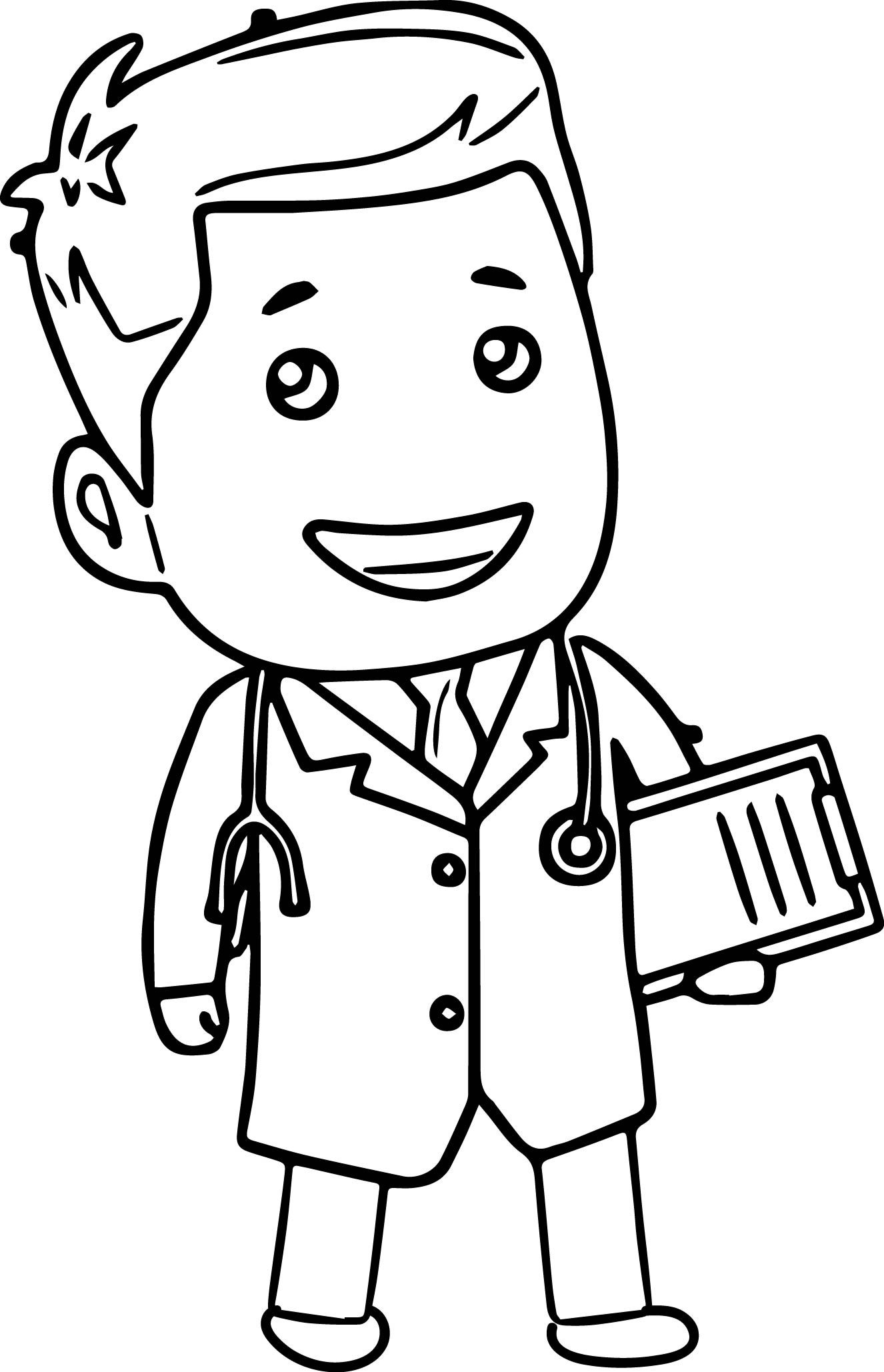Doctor Tools Clipart Doctor_Cartoon_coloring_page.