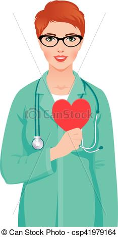 Young woman doctor wearing glasses in medical uniform with stethoscope  holding heart symbol in hand.eps.