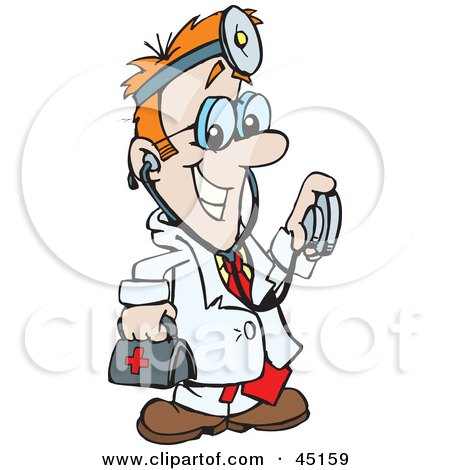 Clipart Illustration of a Caucasian Doctor Man Holding A.