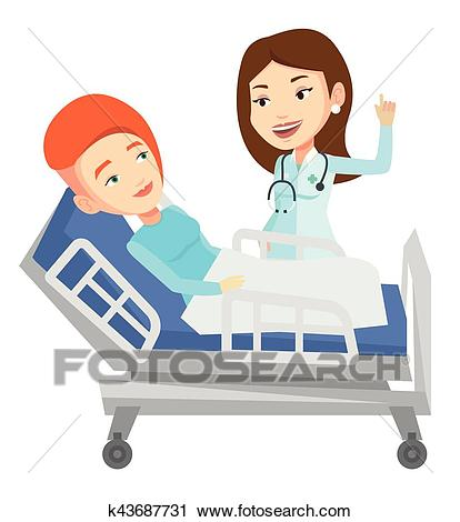 Doctor visiting patient vector illustration. Clipart.
