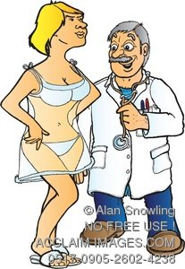 Clipart Illustration of Doctor and Patient.