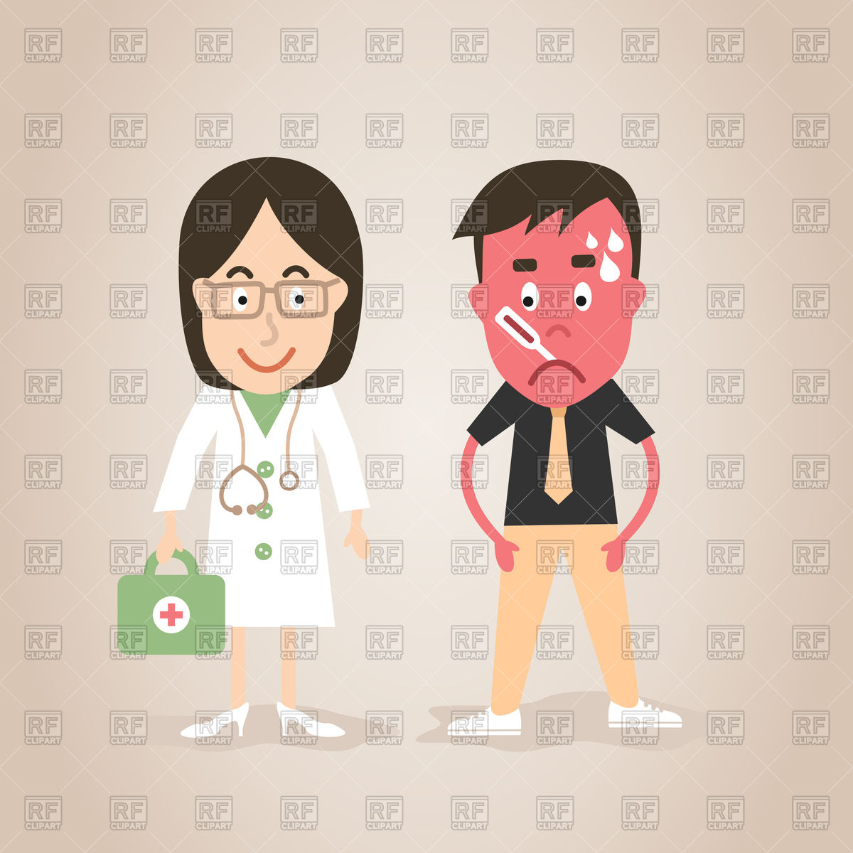 Woman doctor and patient.