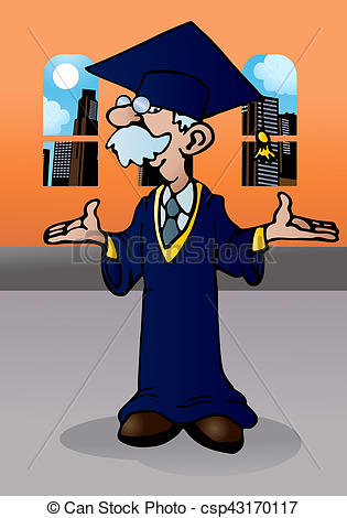 Clipart of doctoral graduation.