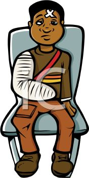 Royalty Free Clip Art Image: Boy with a Broken Arm Waiting at the.