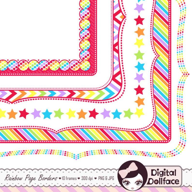 Rainbow Frame Clip Art, Border Paper, Digital Page Borders Clipart, Bracket.