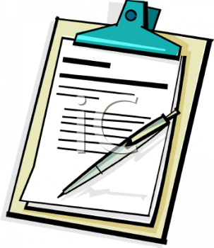 Royalty Free Clipart Image: Clipboard with a Pen and Documents.