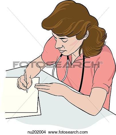 Drawings of Nurse sitting at desk, writing up documentation.