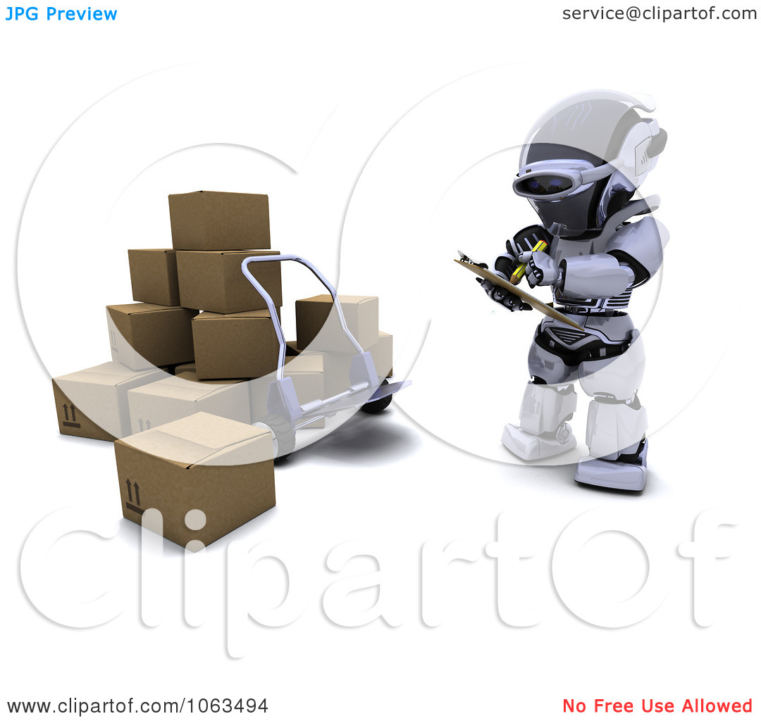 Clipart 3d Robot Documenting Shipments.