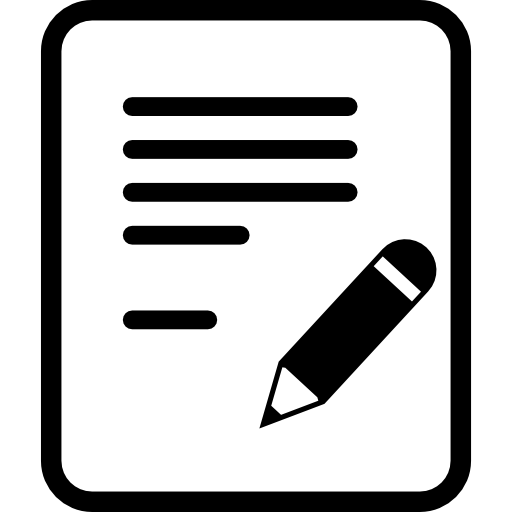 Writing a document with a pencil Icons.