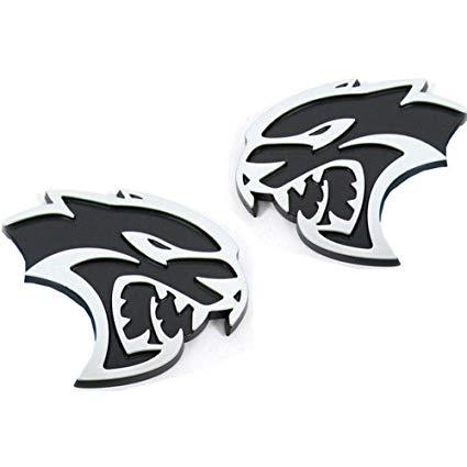 UpAuto Hellcat Emblem Left Right 3D Hellcat Logo for Chrysler Dodge  Challenger SRT (Black).