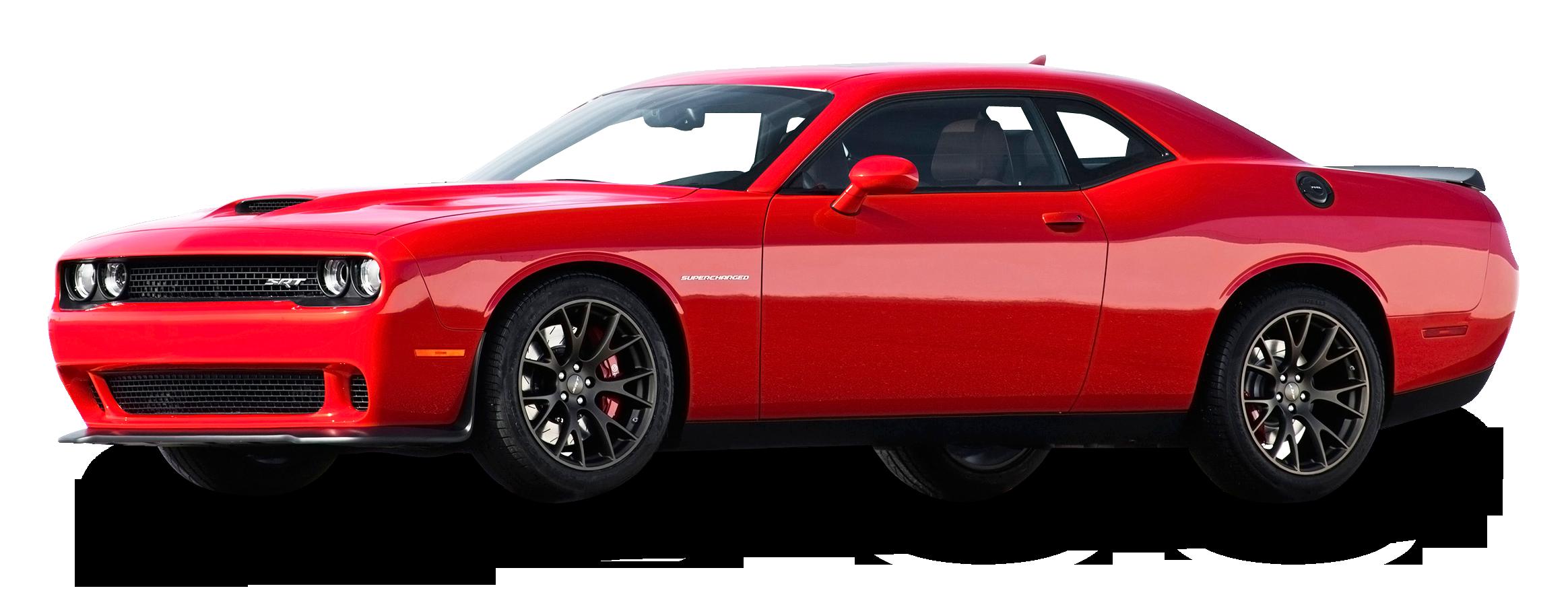 Red Dodge Challenger Car PNG Image.